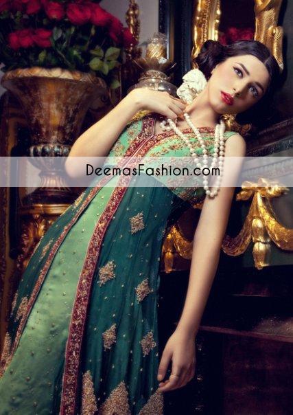 bottle-green-formal-mehndi-wear-anarkali-frock1