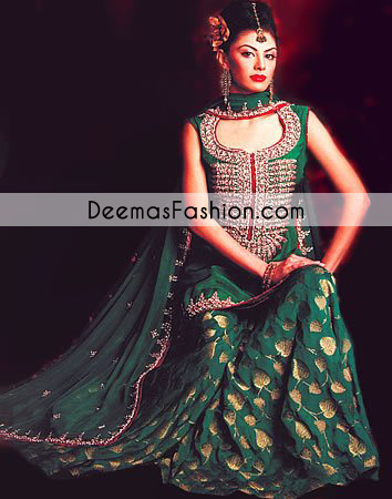 bottle-green-mehndi-wear-lehnga1