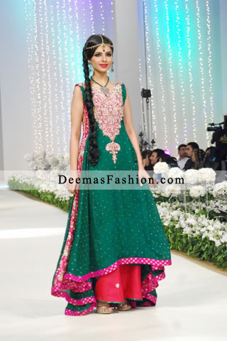 Latest Bottle Green Shocking Pink Formal Wear Sharara