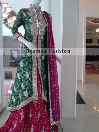 Bottle Green Shocking Pink Front Open Back Tail Shirt Sharara