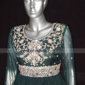 Pakistani Designer Dress Bottle Green Anarkali Frock