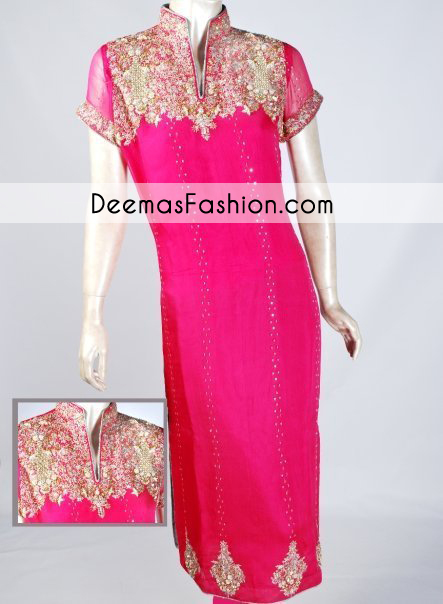 bright-pink-casual-party-wear-dress1
