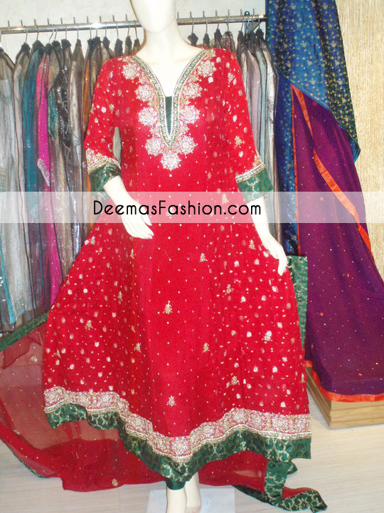 bright-red-bottle-green-anarkali-frock-churidar1