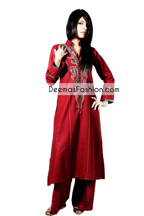 bright-red-casual-wear-dress1