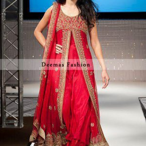 Latest Pakistani Bridal Wear Bright Red Pure Chiffon Front Open Gown With Sharara
