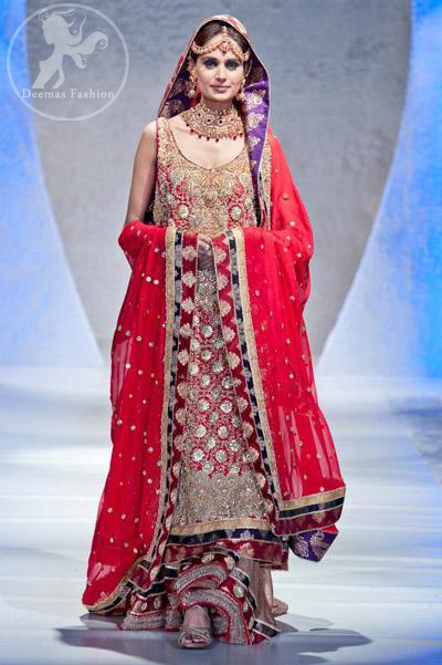 Bright Red Fully Embroidered Shirt Bridal Lehnga and Dupatta