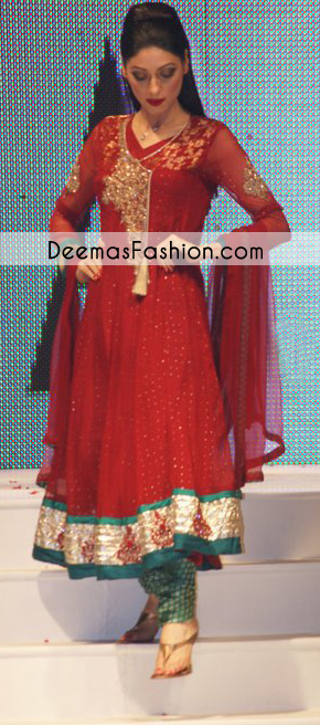 Bright Red Turquoise Green Anarkali Frock Churidar