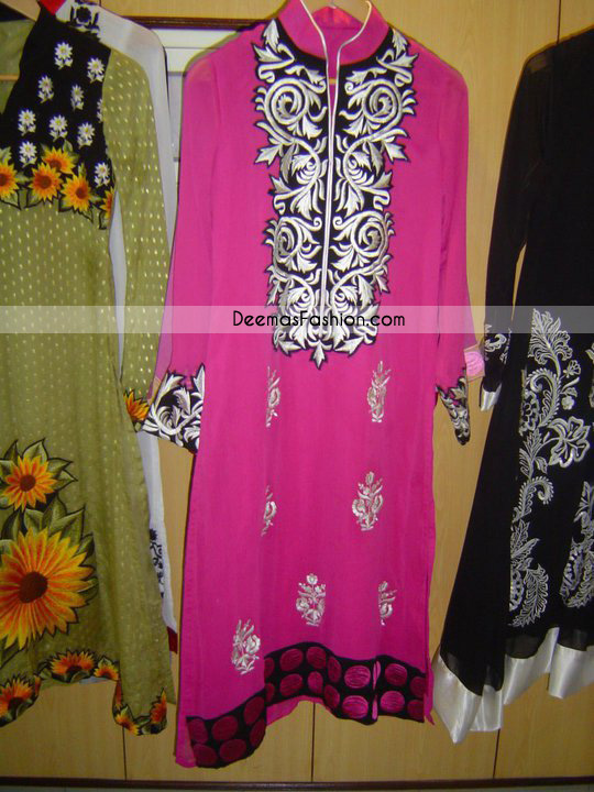 Latest Embroidered Collection – Shocking Pink Casual Dress