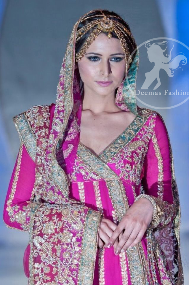 Close up picture of Shocking Pink Bridal Wear Anarkali Pishwas Dress