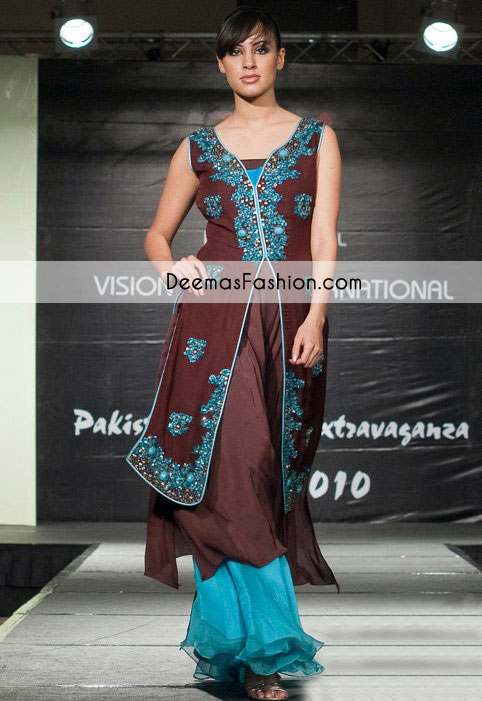 Dark Brown Ferozi Party Wear Front Open Designer Dress
