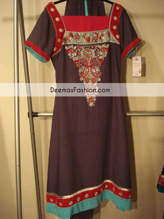 Dark Brown Formal Party Wear Shirt Red Churidar