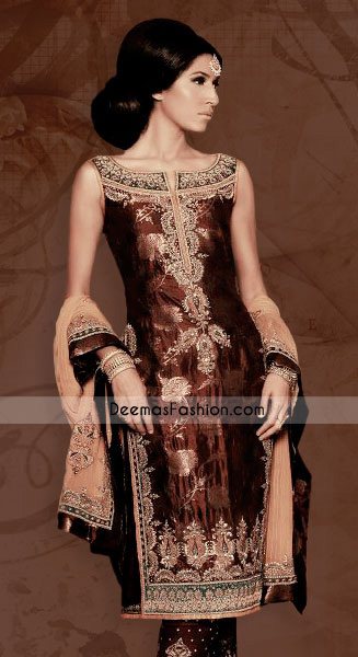 Latest Asian Fashion - Dark Brown Jamwar