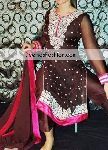 dark-brown-shocking-pink-party-wear-formal-dress1