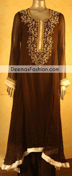 Dark Brown Sides Down Aline Casual Dress