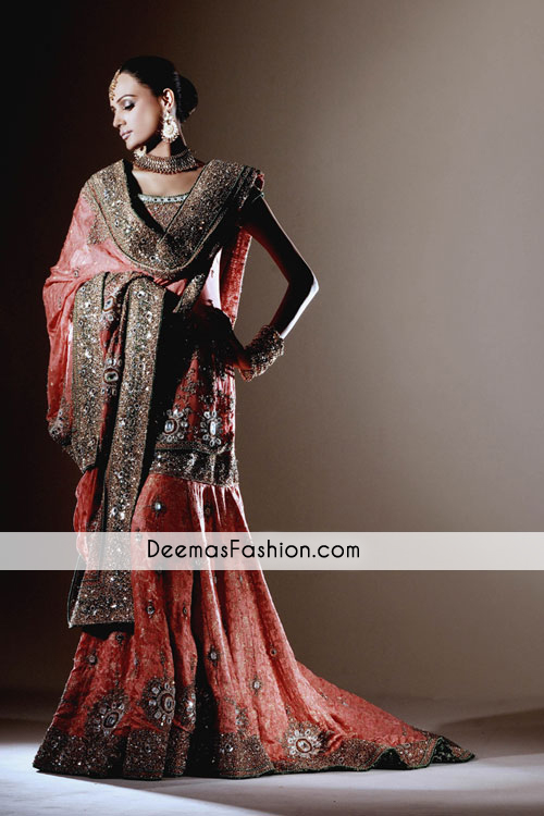 Dark Peach Heavy Bridal Wear Lehnga