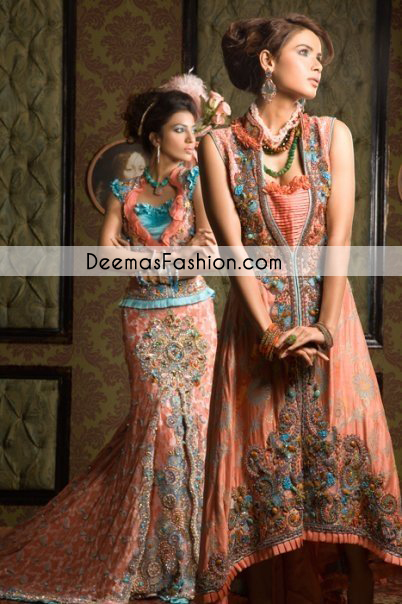 Dark Peach Party Wear Gown Lehnga