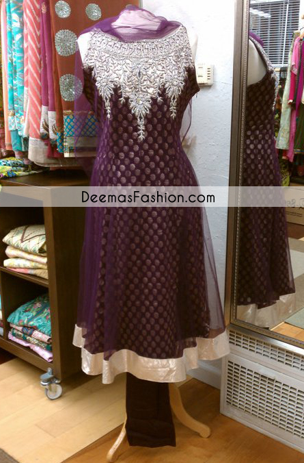 Dark Purple Anarkali Party Wear Pishwas Frock