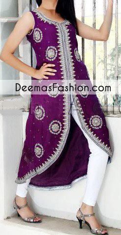 Create a vision of elegance with this purple back trail shirt decorated with intricate zardosi work detailing and silver kora, dabka and sequins. It is highlighted with silver embroidered patterns, floral motifs and sprinkled sequins all over. It is coordinated with white straight trousers. Pair it up with chiffon dupatta sprinkled with sequins all over it.
