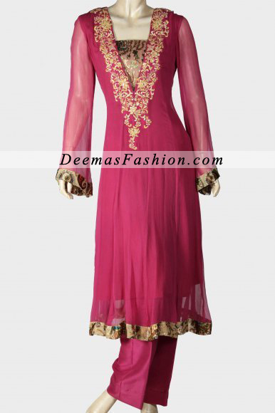 Deep Pink A-line Embroidered Frock