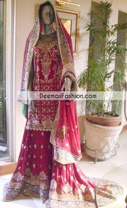 Deep Pink Heavy Back Tail Bridal Lehnga