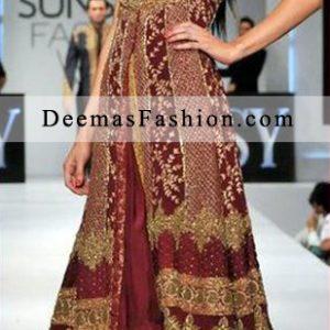Deep Red Bridal Wear A-Line Gown Style Anarkali Pishwas Dress