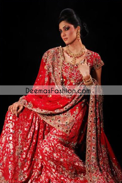 Traditional Style Pakistani Bridal Wear Dress - Deep Red Gharara
