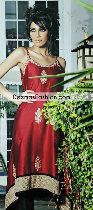 Deep Red Party Wear Aline Formal Dress