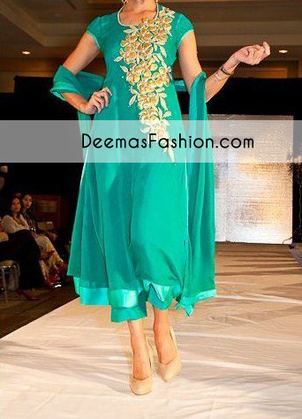 Designer Wear Ferozi Green Casual Wear Dress