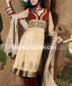 Embroidered Belt Maroon Baij Pure Chiffon Frock