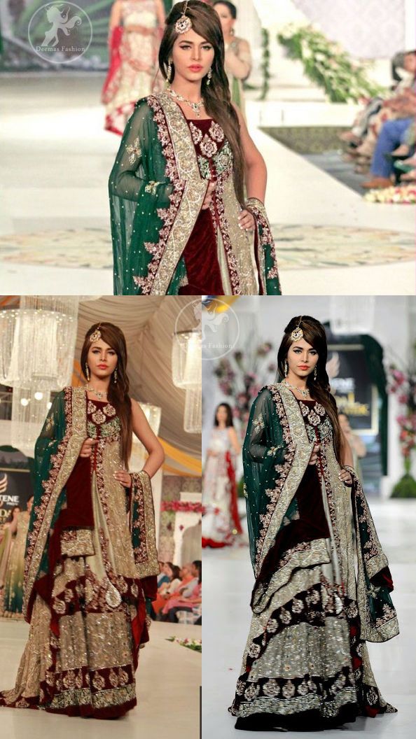 fawn-heavy-bridal-lehnga-with-front-open-gown-and-bottle-green-dupatta