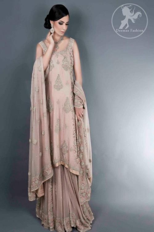 Fawnish Pink Bridal Lehnga with A-line Shirt and Embellished Dupatta