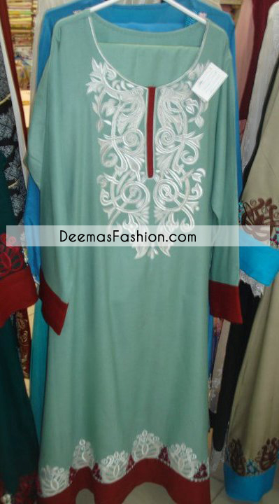 Ferozi Green Maroon Casual Aline Dress