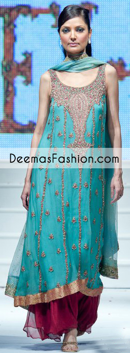 Ferozi Party Wear Formal Anarkali Pishwas Churidar Dress