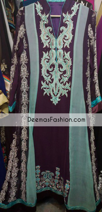 Ferozi Green Purple Aline Casual Wear Dress