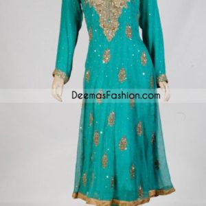 Pakistani Ladies Designer Wear - Sea Green Anarkali Dress