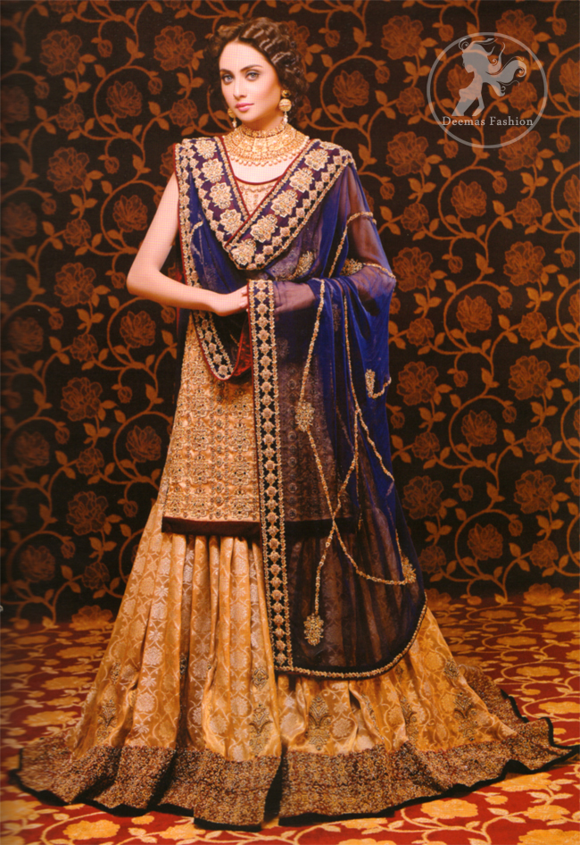 Golden Royal Blue Bridal Dress Latest Designer Dresses Fashion