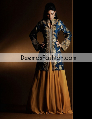 Golden Yellow Royal Blue Bridal Mehndi Wear Sharara