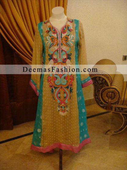 Golden Yellow Sea Green A-Line Casual Dress