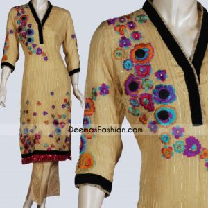 Purchase Latest Pakistani Suits Golden Yellow Long Shirt