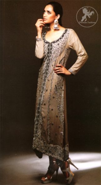 Latest Pakistani Formal Wear Grayish Brown Long Shirt, Trouser and Dupatta