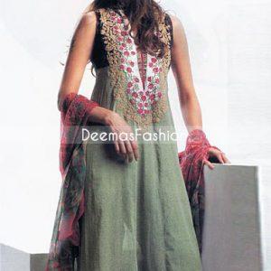 Pakistani Designer Fashion Green A-line Anarkali Dress