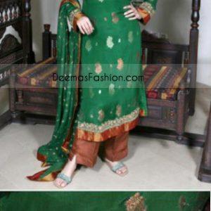 Latest Pakistani Design Bottle Green & Rust Kamez Trousers