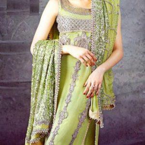 Pakistani Bridal Fashion Green Yellow Sharara