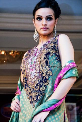 Latest Pakistani Trend - Light Green & Magenta