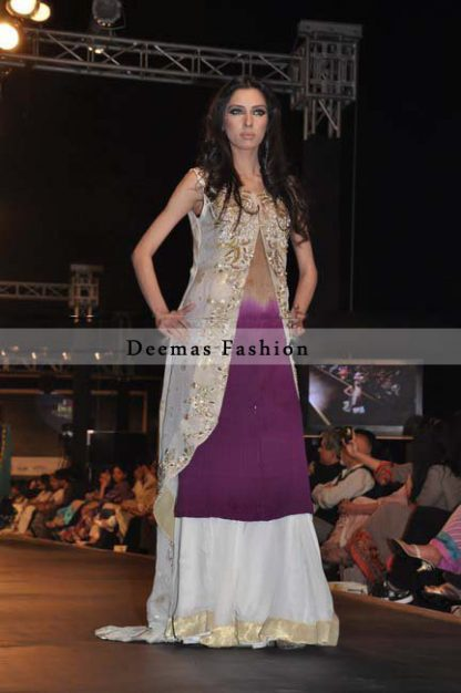 Grey Purple Gown Sharara