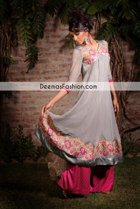 Grey Shocking Pink A Line casual Wear Frock