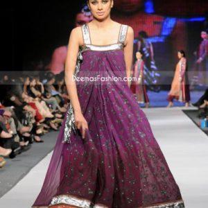 Pakistani Fashion Deep Purple Anarkali Pishwas