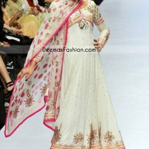 Latest Pakistani Designer Wear - White Pink Pishwas Dress