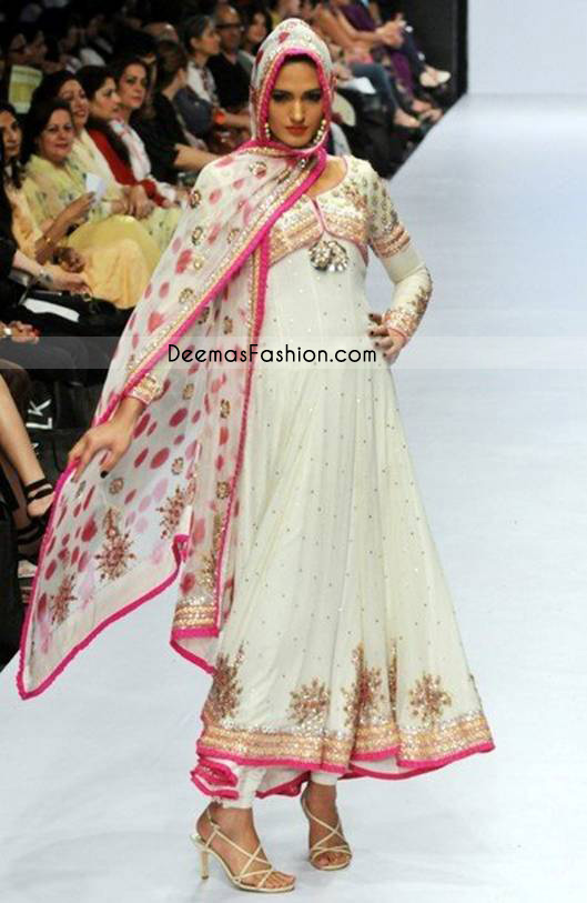 Latest Pakistani Designer Wear – White Pink Pishwas Dress