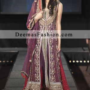 Latest Pakistani Bridal Collection 2011 Red Dark Purple Front Open Gown Sharara